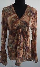Maria Gabrielle Crinkle Print Top Shirt Earth Tones Paisley Circular Flounce Cuf