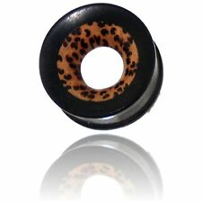 PAIR OF 000G (12mm) 7/16 INCH EBONY WOOD TUNNELS INLAY COCO PLUGS PLUG GAUGES