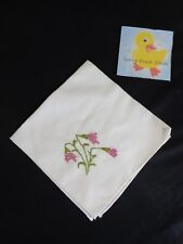 """Womens Hanky Handkerchief Hand Embroidered PINK FLORAL 14"""" x 14"""" Square White"""