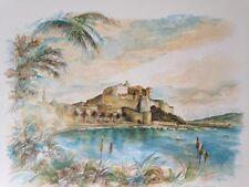 litho de Robert PICCIO, peintre Corse , vue de Porto-Vecchio