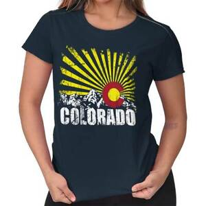 Colorado Flag Rocky Mountains Vacation Gift Womens Short Sleeve Ladies T Shirt