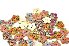 "Lot of 10 FLOWERS 2-hole Wooden Buttons 11/16"" (17mm) Scrapbook Doll (1428)"