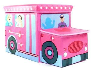 Gelegenheit | Spielzeugtruhe Schulbus Spielzeugkiste Aufräumen Hocker Pink Rosa