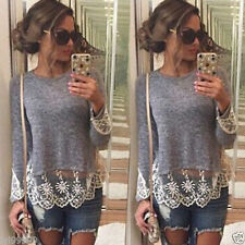 New Womens Summer Vest Top Long Sleeve Blouse Casual Tank Tops T-Shirt Lace