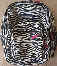 NWT Trans by Jansport  Backpack Supermax TM60 2200 cu.in. Black White pnk  Zebra