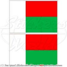 """Madagascar Bandiera, malgache Repubblica ADESIVI in vinile 75 mm (3"""") Pegatinas x2"""