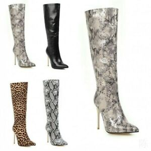Knee Thigh High Boots for Women Shoes Snakeskin Printed Pointed Toe Zipper 34-48