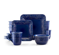 Blue Square Stoneware Dinnerware Set Embossed Floral Design Baroque 16 Pcs