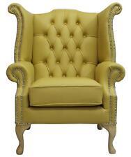 Chesterfield fauteuil Queen Anne High Back Bergère Deluca jaune cuir SS