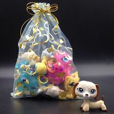 littlest pet shop toy DACHSHUND LPS #1491 dog + 10 random pets lot with gift bag