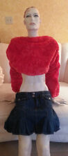 Sexy Plush Fur Denim Reversible Backless Top Shrug Sweater Wrap Shawl Coat Party
