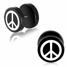 10mm Black Anodized Stainless Steel 2 tone Peace Sign Faux Fake Ear Plug Pair