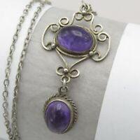 Vtg Antique Art Deco Sterling Silver Natural Amethyst Pendant Necklace