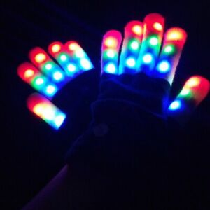 Halloween Men Women LED Light Growing Gloves Party Colorful Glowing Gloves Prop