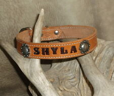 "Custom Saddle Tan Leather Dog Collar Your Dogs Name 1"" wide, Berry Conchos. G&E"