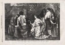 OLD ANTIQUE 1859 PRINT RELIGIOUS IMAGE DELILAH ASKING FORGIVENESS OF SAMSON b63