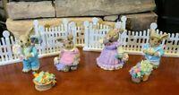 9 Piece SetEaster Bunny Figurines Mervyns 1992