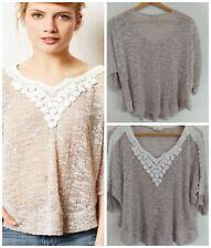 Anthropologie Meadow Rue Sweater L Crochet Loose Knit Beige White Semi Sheer