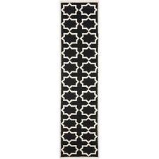 "Safavieh Flat weave Black/ Ivory Wool Runner 2' 6"" x 10'"