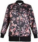 Womens Plus Size Floral Print Ladies Long Sleeve Bomber Zip Cuff Long Jacket Top