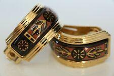 Michaela Frey Creole Enamel Hoop Earrings, Greco Roman Collection