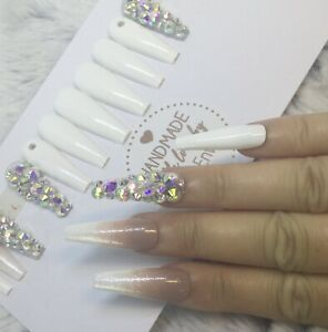 White Ombre Diamante False Press On XL Ballerina Nails Set