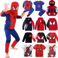 Boys Kids Spiderman Hoodies Coat Sweatshirt Casual T-shirt Tops Cosplay Costume