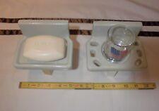 Vintage *Pearl Gray* Ceramic Sink Set…soap dish & tumbler cup holder  NOS