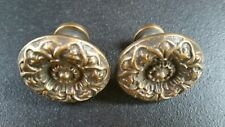 "2 Antique Style  Solid Brass  ROUND KNOBS Ornate FLORAL 1 1/4"" dia. #Z12"