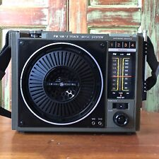 Vintage Portable FM/AM/8 Track Player Music System GE Model 3-5507C 1970s Works
