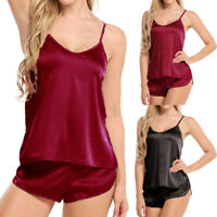 US Stock Women Lingerie Casual Cami Shorts Solid Satin Babydoll Sleepwear Pajama
