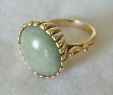 Vintage 14K Yellow Gold Solitaire Green Jade Pinky Ring - 5 grms, Size 4.25