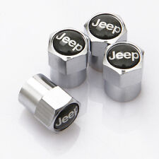 4 x Silver Chrome Tyre Valve Dust Caps (Fits JEEP) - BLACK