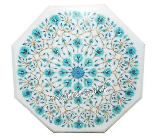 14 Inches Octagon Marble Table Top Inlay Art Coffee Table with Turquoise Stone