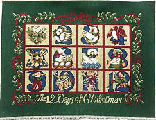 """Tapestry Panel Home Decor Christmas The 12 Days Of Christmas 18"""" x 13"""" New"""