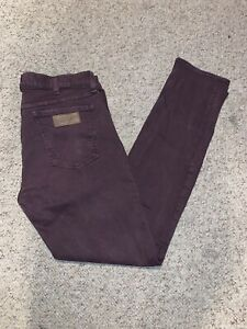 Wrangler Men's Plum Colored Slim Tapered 33 x 32 Jeans Button Fly EUC