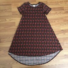 LuLaRoe Carly Dress Womens XS Hi Lo Hem Brown Red