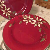 World Market Burgundy Floral Salad Plates 9 Inch Set Of Four