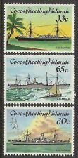 COCOS IS 1985 CABLE-LAYING SHIPS 3v MNH
