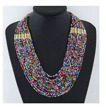 Necklace Handmade Statement Beaded Multi Color Seed Strand Chain Choker Bohemia