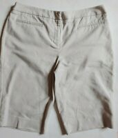 Chicos Bermuda Shorts Womens sz 1 M 8 Khaki Faux Pockets Stretch