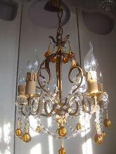 ~~ SPLENDIDA Vintage Francese MACCHERONI Con Perline Lampadario ~ oro vetro opalino GOCCE ~