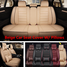 Beige Comfortable PU Leather 5 Seats Car Seat Cover Cushion Full Set W/Pillow