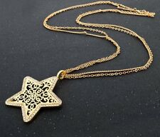 18K Yellow Gold Plated Star Charm Genuine Austrian Crystal Pendant Long Necklace