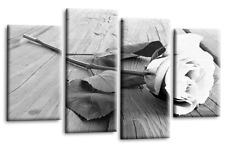 White Rose Canvas Wall Art Picture Floral Flower Love Print Grey Split Panel