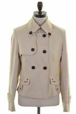 KAREN MILLEN Womens Double Breasted Jacket UK Size 10 Small Beige Cotton  FC10