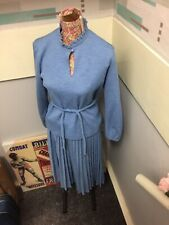 VINTAGE 70s BLUE SKIRT & TOP SUIT PLEATED SKIRT SIZE 14 GOOD CONDITION