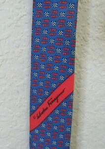 Salvatore Ferragamo Blue/Red Print Silk Tie