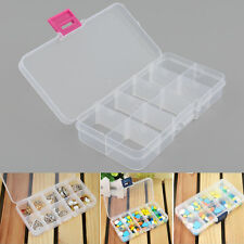 Plastic 10 Slots Compartment Adjustable Jewelry Clear Box Case Holder Container