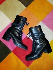 Vintage 90'S Nine West Black Leather Combat Boots Ankle Booties Boots Size 7